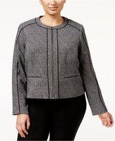 Calvin Klein Plus Size Tweed Piped Zip-Front Jacket