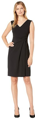 Lauren Ralph Lauren Luxe Tech Crepe Astah Sleeveless Day Dress (Black) Women's Clothing