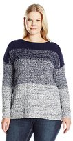 Leo & Nicole Women's Plus Size Long Sleeve Color Change Boat Neck Sweater