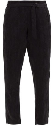 Ann Demeulemeester High-rise Crushed-satin Cropped Trousers - Black