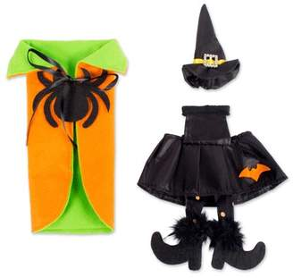 Design Imports E-Living Halloween Wine Bottle Covers, Orange & Green Spider Cape w/ Black Witch Outfit