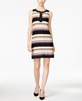 MSK Striped Zip-Front Shift Dress
