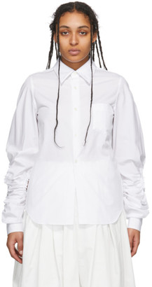 Comme des Garcons White Cut-Out Sleeve Shirt