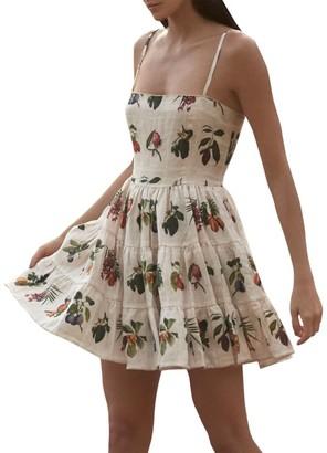 Agua Bendita Lima Ruffle-Sleeve Floral Fit & Flare Dress