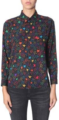Saint Laurent Star Print Curved Hem Shirt