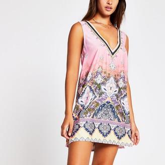 River Island Pink light paisley tunic beach dress