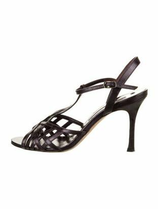 Manolo Blahnik Leather Slingback Sandals Purple