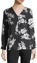 Vince Camuto Oriental Fleur Long-Sleeve Top