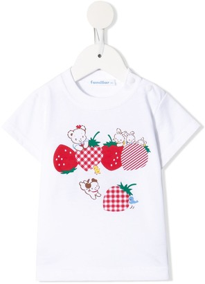 Familiar strawberry-print cotton T-shirt