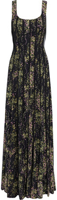Mikael Aghal Floral-print Crepe De Chine And Georgette Gown