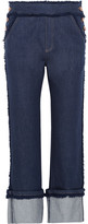 See by Chloe Cropped Frayed High-rise Straight-leg Jeans - Dark denim