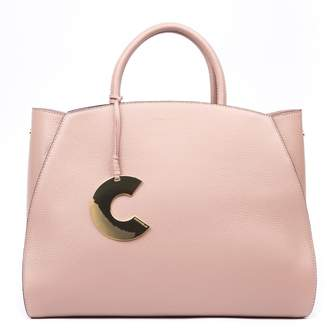 Coccinelle Logo Charm Peony Leather Tote