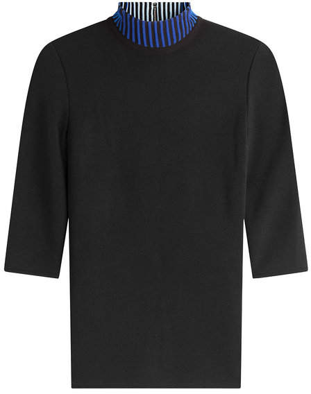 David Koma Knit Top with Contrast Turtleneck