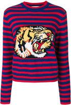 Gucci striped tiger motif sweater - women - Wool - M