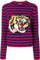 Gucci striped tiger motif sweater - women - Wool - S