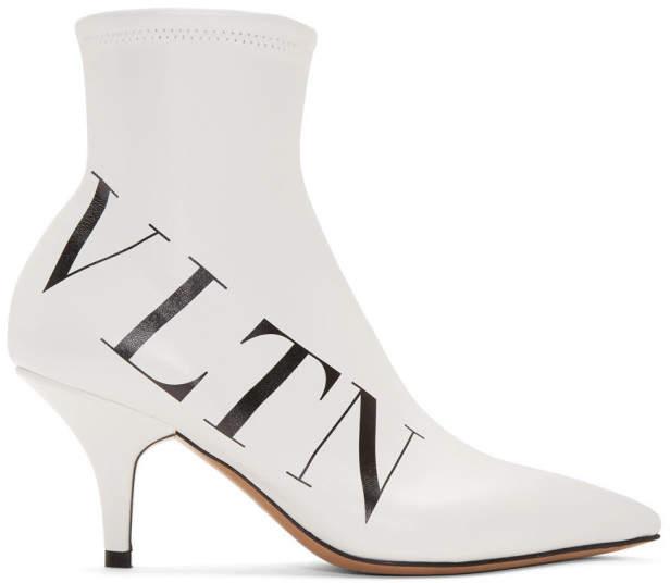 Valentino White Garavani Eco-Leather VLTN Boots