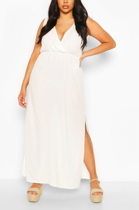 boohoo Plus Chiffon Double Split Maxi Beach Dress
