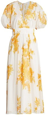 Lela Rose Rose Puff-Sleeve Voile Midi Dress
