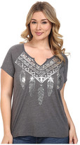 Roper Plus Size 0428 Heather Jersey Split Neck Tee