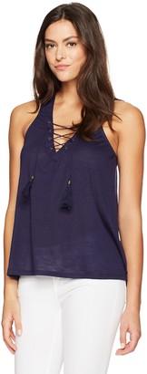 Taylor & Sage Women's Sleevless Lace Up Crochet Back Tank