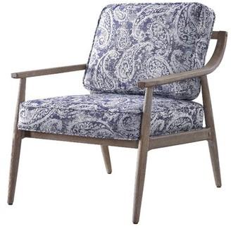 Wrought StudioTM Nisbet Armchair Wrought Studio Fabric: Blue Paisley, Leg Color: Brown Brushed