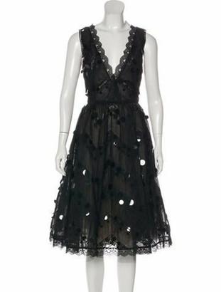 Oscar de la Renta 2006 Midi Length Dress Black