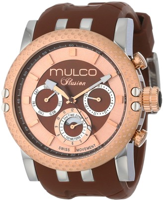 Mulco Lincoln Illusion Swiss Chronograph Analog Watch Multifunctional Movement - Silicone Band (Brown/Rosegold)