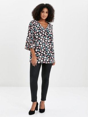 Evans Floral Frill Sleeve Top - Black