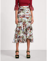Erdem Josi high-rise silk-voile midi skirt