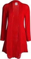 Fashion Box Womens Long Sleeves Plain Crochet Knitted Waterfall Cardigan Sweater