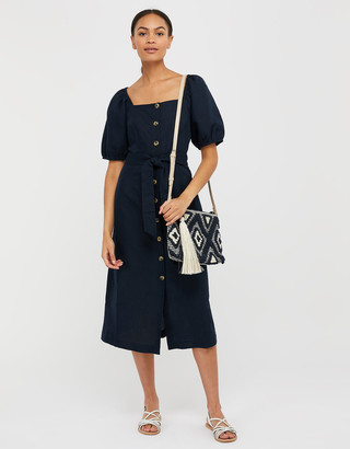 Under Armour Tina Midi Dress in Linen and Organic Cotton Blue