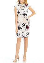 Calvin Klein Floral Print Matte Jersey Pleated Crossover High Neck Sheath Dress