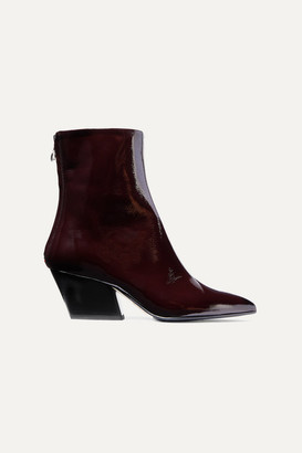 AEYDĒ Dahlia Crinkled Patent-leather Ankle Boots - Burgundy