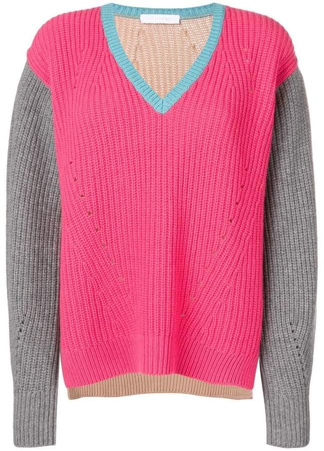 Cruciani colour block V-neck sweater