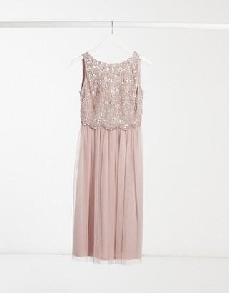 Lipsy Bridesmaid lace applique midi skater dress in light pink