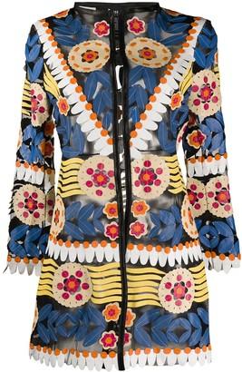Caban Romantic Floral Open Front Jacket