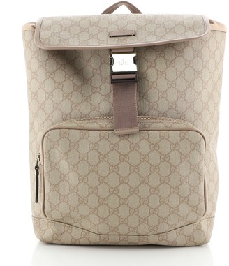 Gucci Buckle Backpack GG Coated Canvas Medium