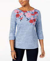 Karen Scott Studded Floral-Print Top, Created for Macy's
