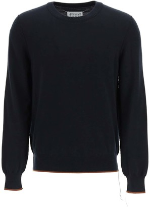 Maison Margiela CREW NECK SWEATER WITH ELBOW PATCHES L Blue, Brown Cotton, Wool