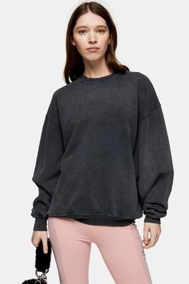 Topshop Womens Charcoal Grey Stone Wash Sweatshirt - Charcoal