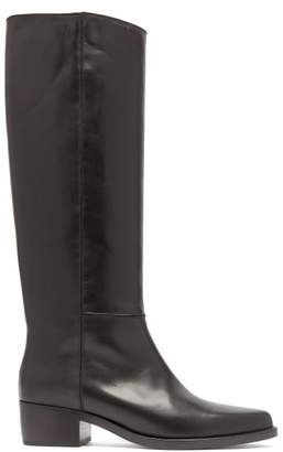 Legres - Knee High Leather Riding Boots - Womens - Black