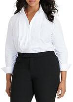 Lauren Ralph Lauren Plus Cotton Poplin Bib Shirt