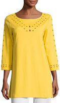 Joan Vass Cutout-Detail Interlock Tunic