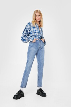 Nasty Gal Womens Straight Talking High-Waisted Jeans - Blue - 14