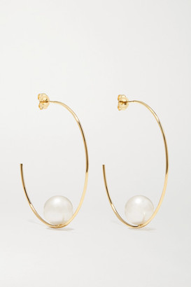 Mizuki 14-karat Gold Pearl Hoop Earrings - one size