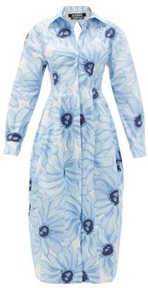 Jacquemus Valensole Floral-print Cotton-poplin Shirt Dress - Womens - Blue