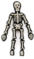 Macon & Lesquoy Hand Embroidered Skeleton Brooch Silvery