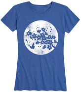Instant Message Women's Women's Tee Shirts HEATHER - Heather Royal Blue Cherry Blossom & Moon Relaxed-Fit Tee - Women