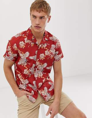 Selected revere collar shirt with all over bird print in red