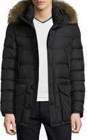 Moncler Cluny Nylon Puffer Jacket with Fur Hood, Navy